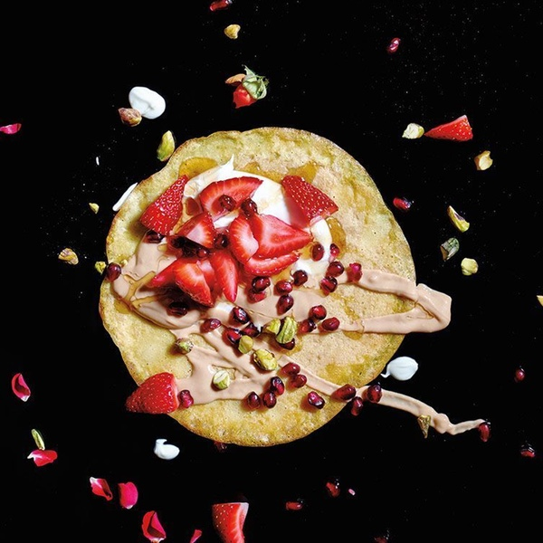Strawberry and Tahini Crepe with Pomegranate Seeds and Toasted Pistachios
