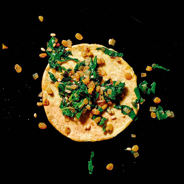 Gluten-Free Chickpea Crepes with Swiss Chard, Golden Raisins, and Pine Nuts