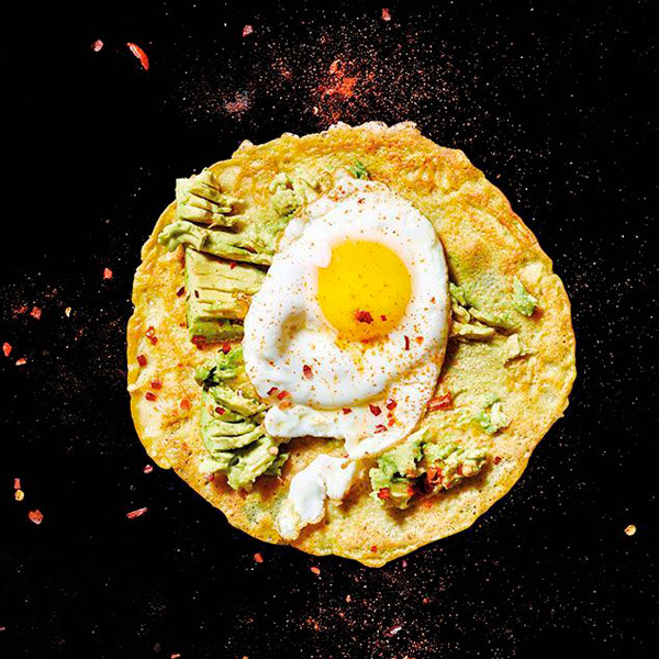 Gluten-Free Chickpea Crepes with Olive Oil-Fried Egg and Smashed Avocado