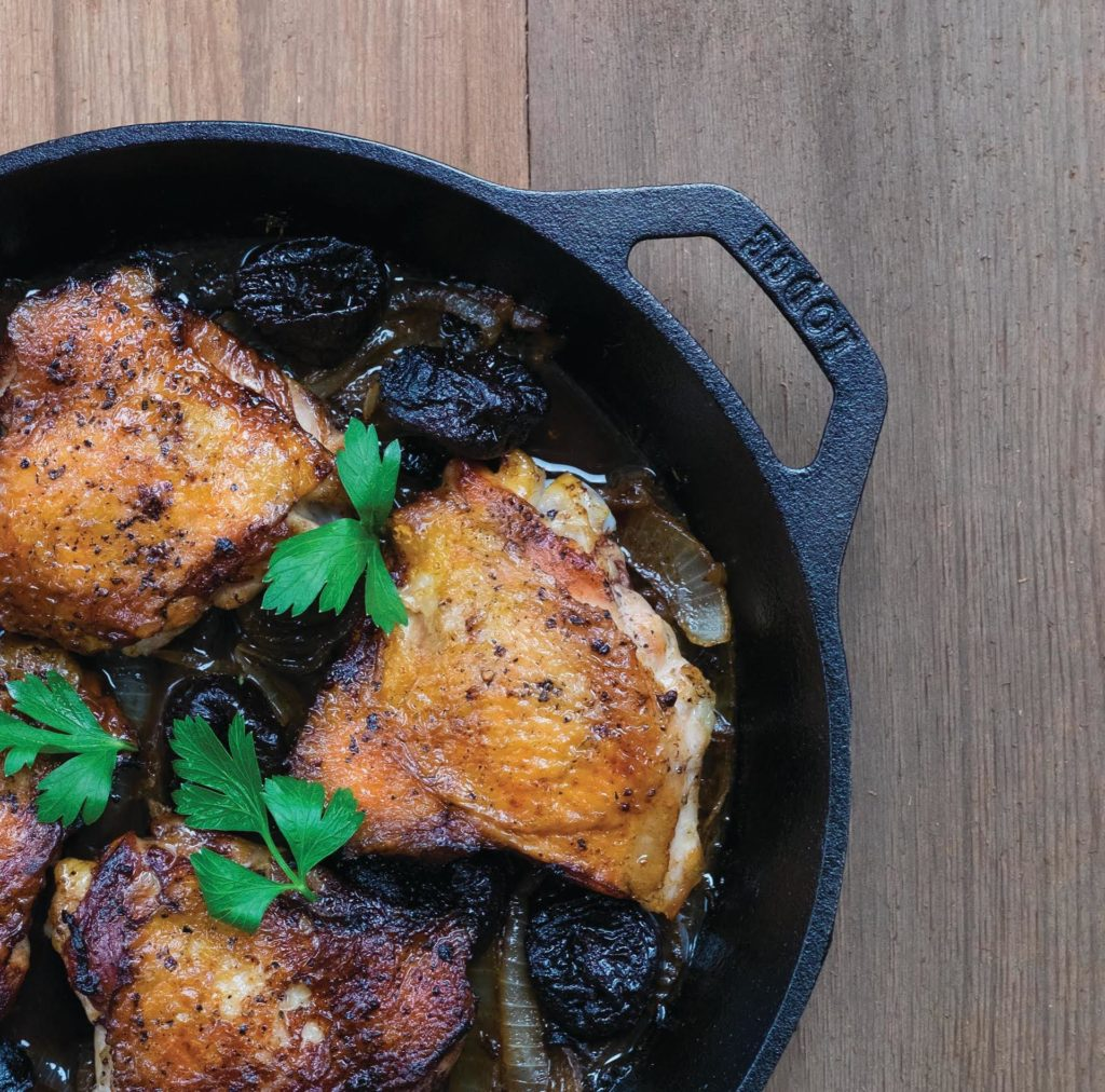 Sponsored Recipe: Gluten-Free, Dairy-Free Roasted Chicken Thighs with Onion, Thyme, and D'Noir Prunes