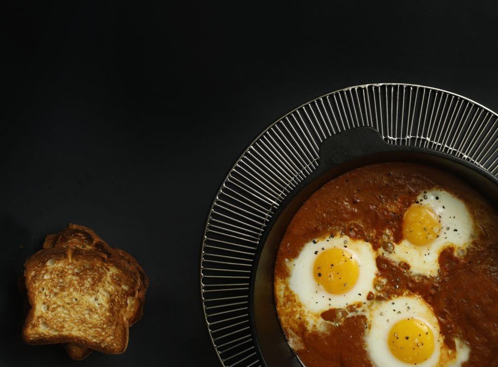 Gluten-Free Curried Tomato Sauce–Poached Eggs