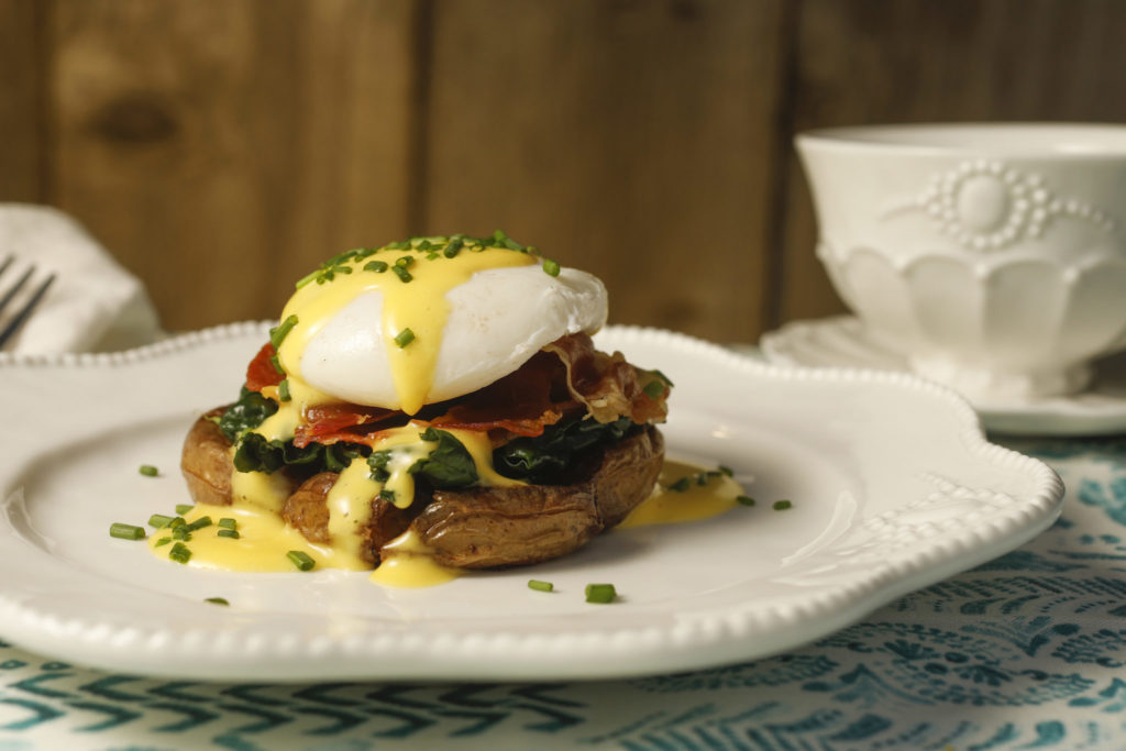 Gluten-Free Smashed-Potato Eggs Benedict with Easy Blender Hollandaise Sauce