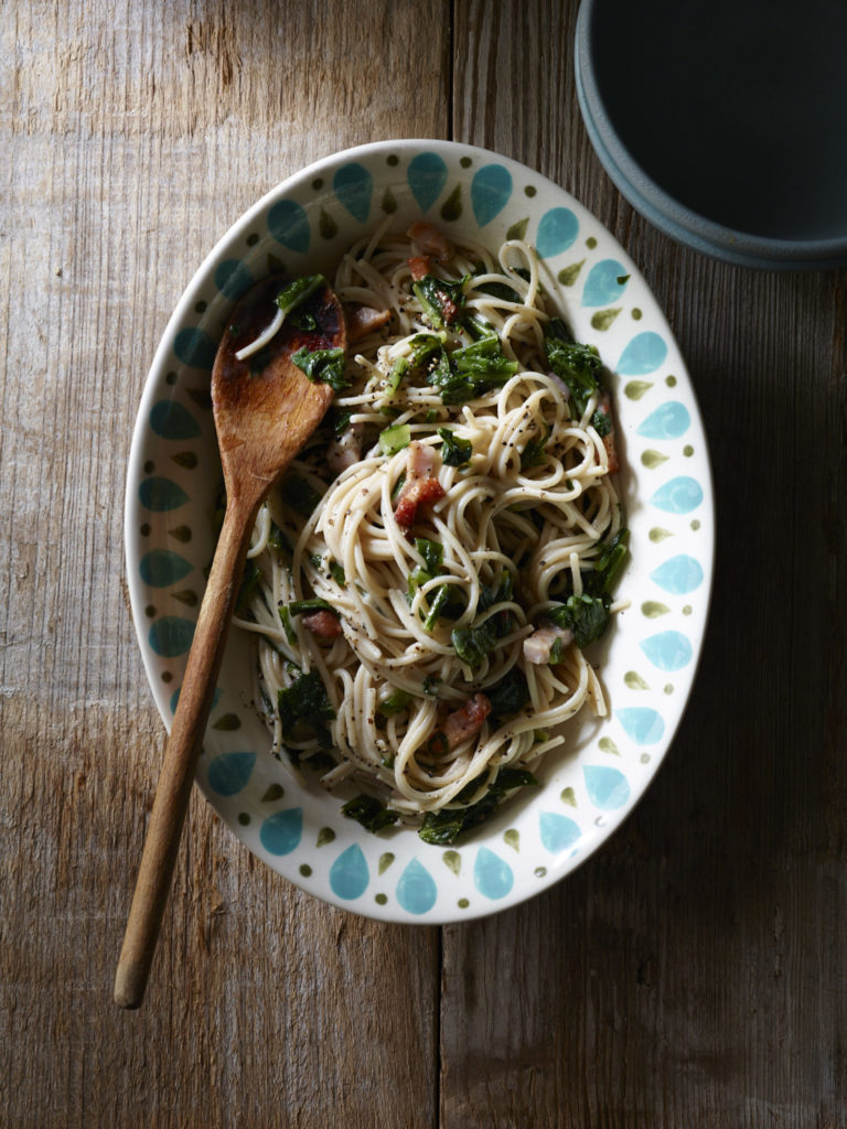 Gluten Free Brown Rice Spaghetti with Bitter Greens and Pancetta Recipe