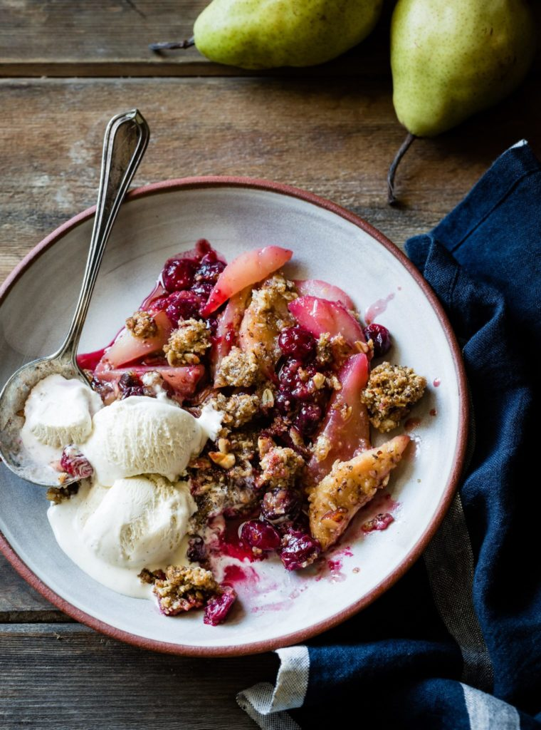 Gluten-Free, Dairy-Free Vegan Cranberry Pear Crumble Recipe