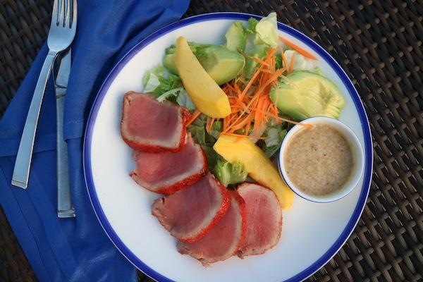 Gluten-Free Seared Honey-Chili Ahi Tuna Salad with Oriental Dressing, Avocado, and Mango Recipe