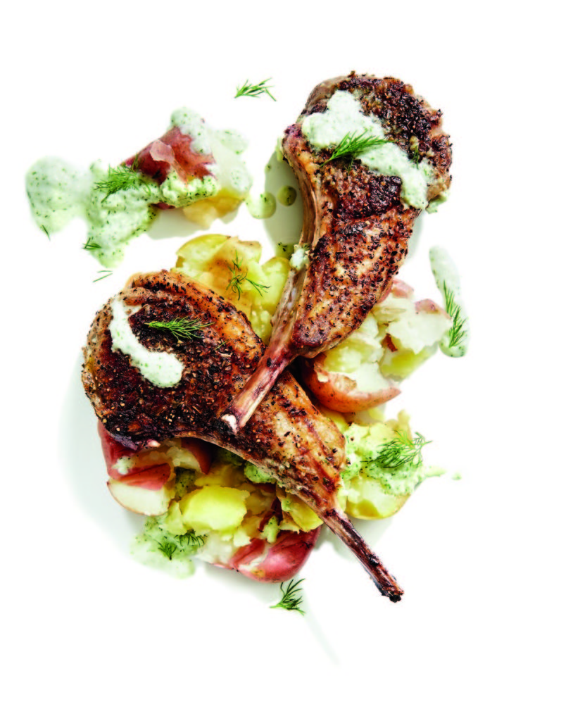 Gluten-Free Grilled Lamb Chops with Tzatziki Salsa and Smashed Potatoes Recipe