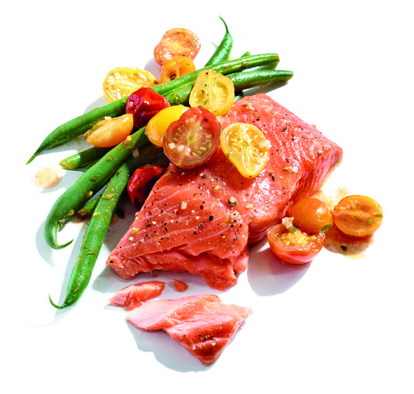 Gluten-Free Slow-Roasted Salmon with Cherry Tomatoes and Green Beans Recipe