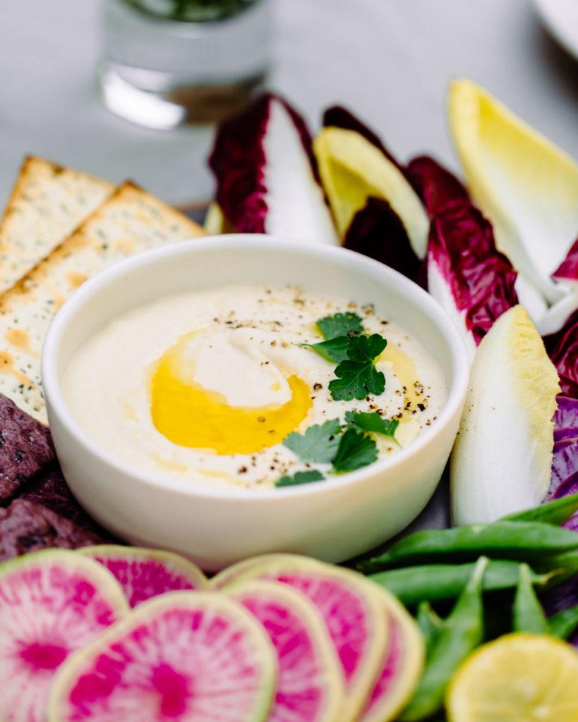 Gluten-Free, Vegan, Roasted Garlic White Bean Dip with Vegetables Recipe