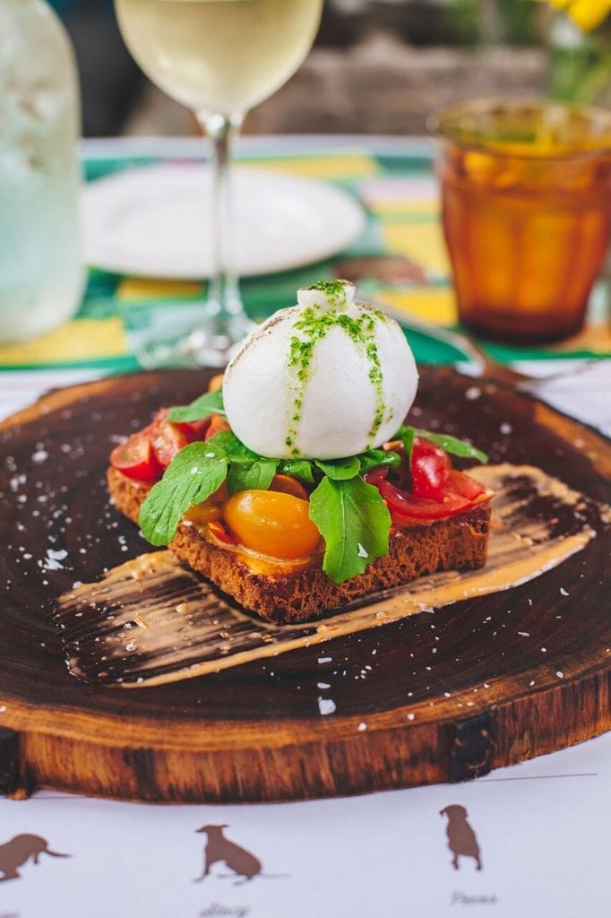Burrata with Creamy Tomato Vinaigrette, Tomatoes in Red Wine Vinaigrette, and Brioche Gluten-Free Recipe