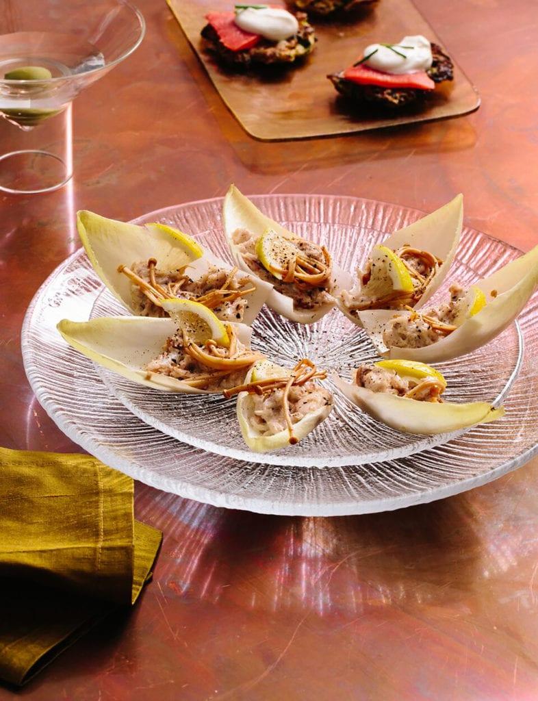 Gluten-Free Endive with Crab Salad and Mirin- Marinated Mushrooms Recipe