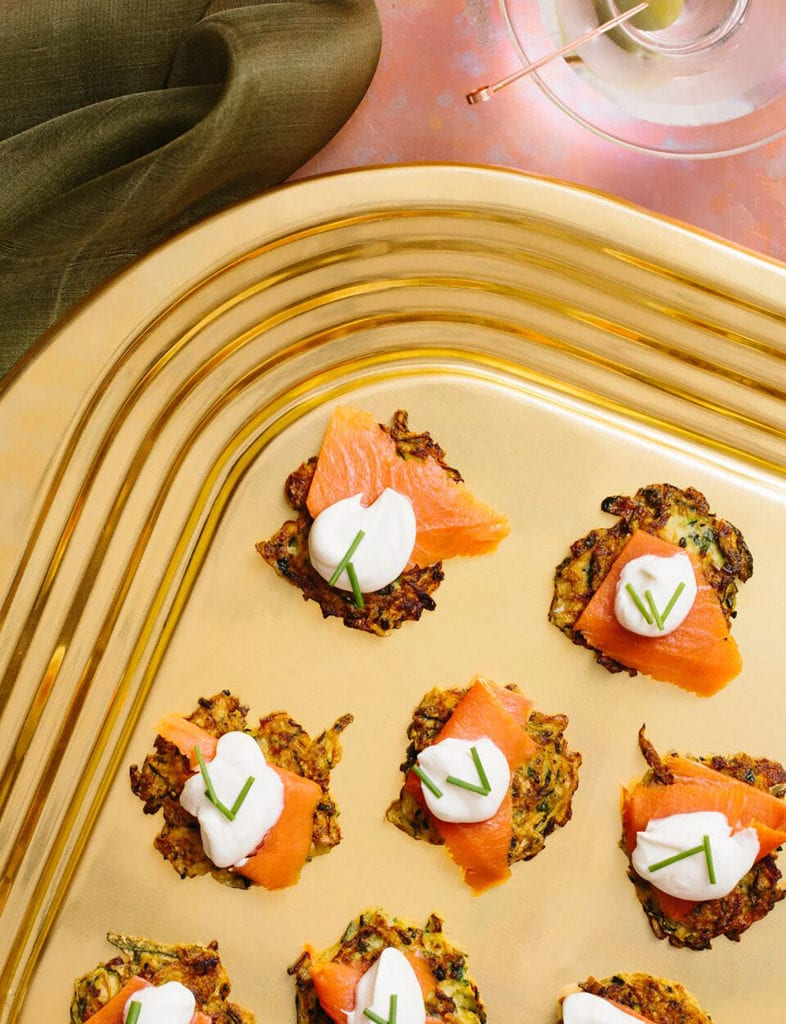 Mini Zucchini-Chive Fritters with Smoked Salmon and Sour Cream Gluten-Free Recipe
