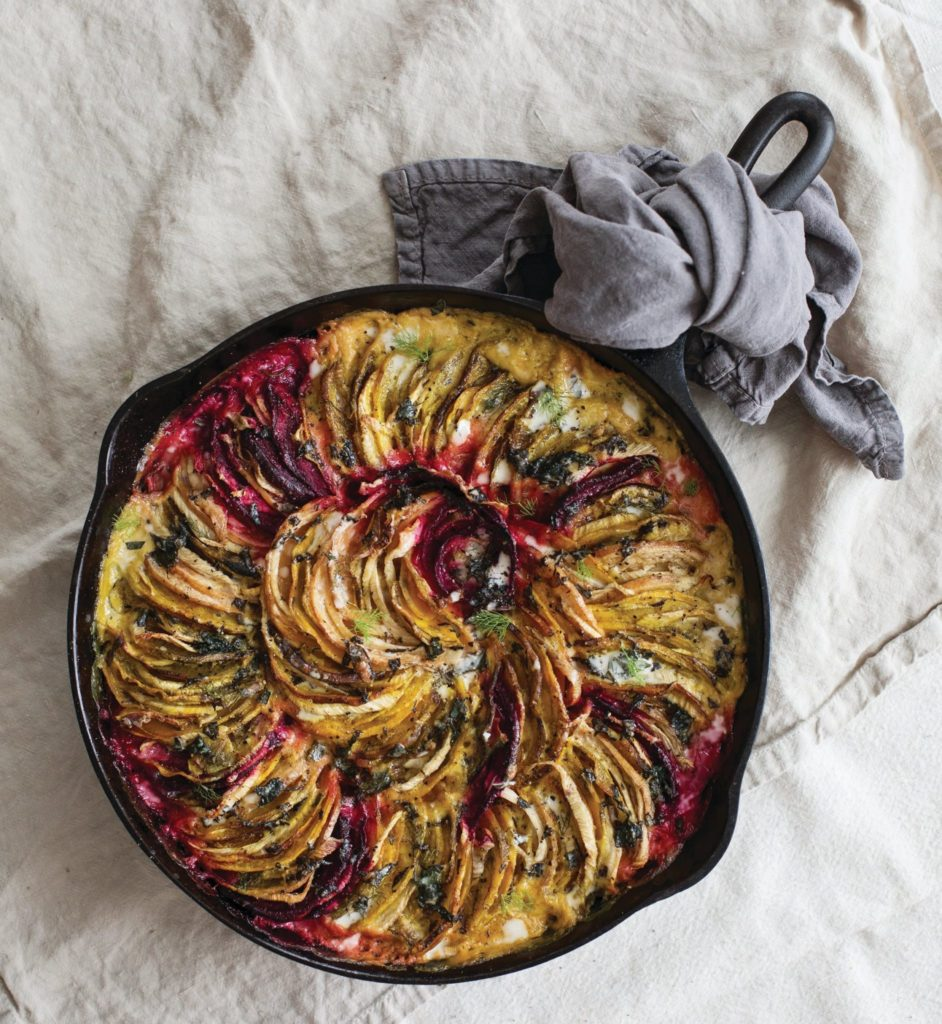 Beet and Fennel Gratin with Mint-Coconut Cream Sauce