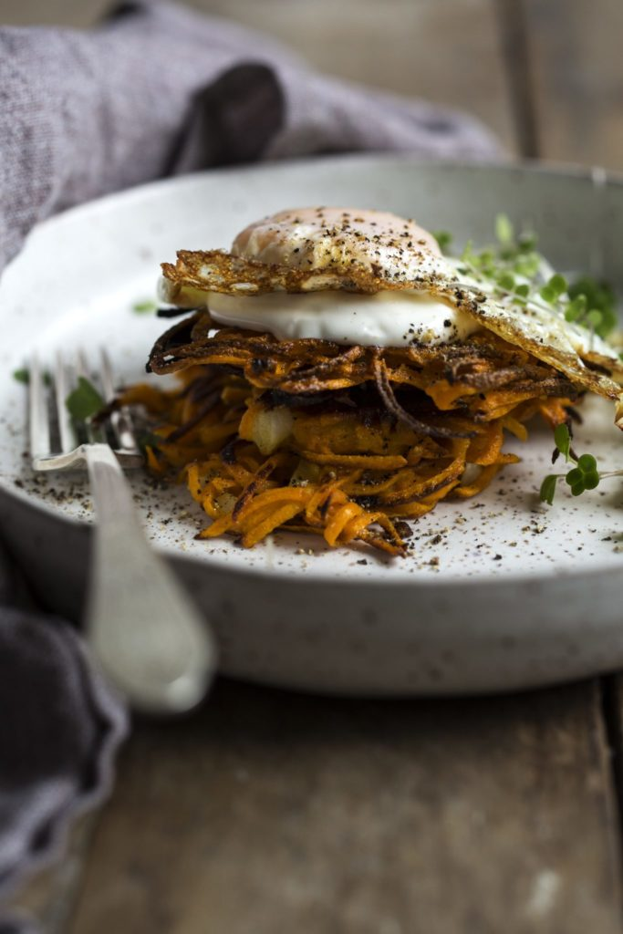 Gluten-Free Butternut Squash Rosti with Fried Eggs Recipe