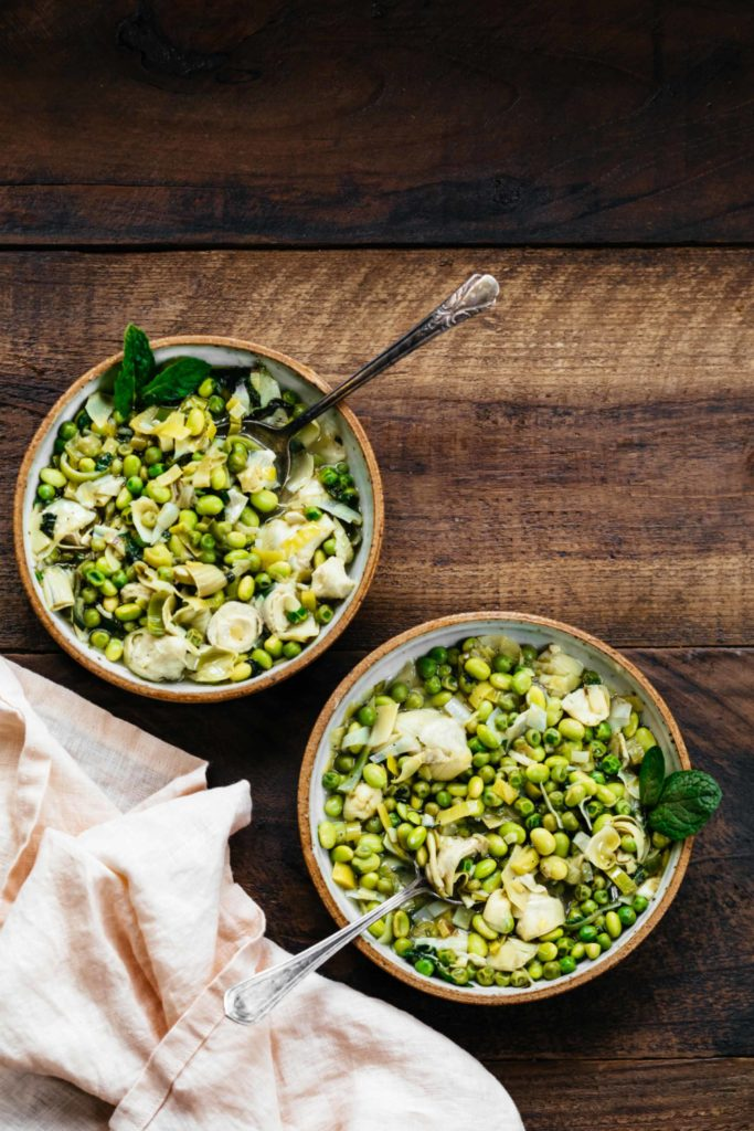 Braised Fava Beans, Artichoke Hearts, and Peas