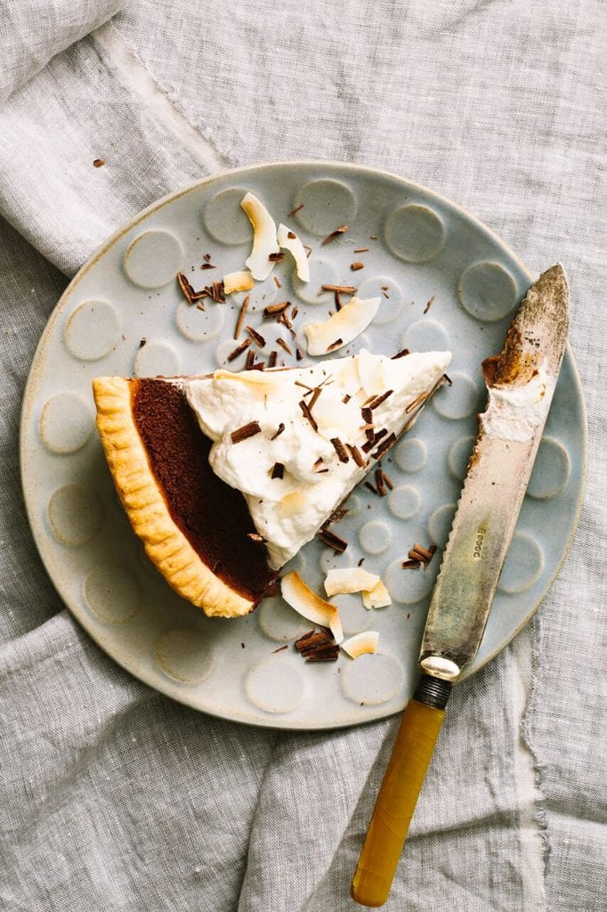 Gluten-Free Chocolate Custard Pie with Coconut Whipped Cream