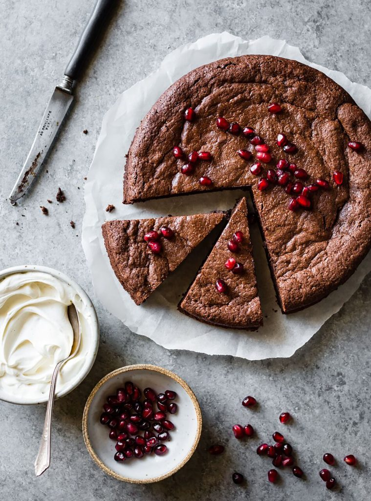 Gluten Free Chocolate Hazelnut Flour Cake with Whipped Mascarpone and Pomegranate Recipe