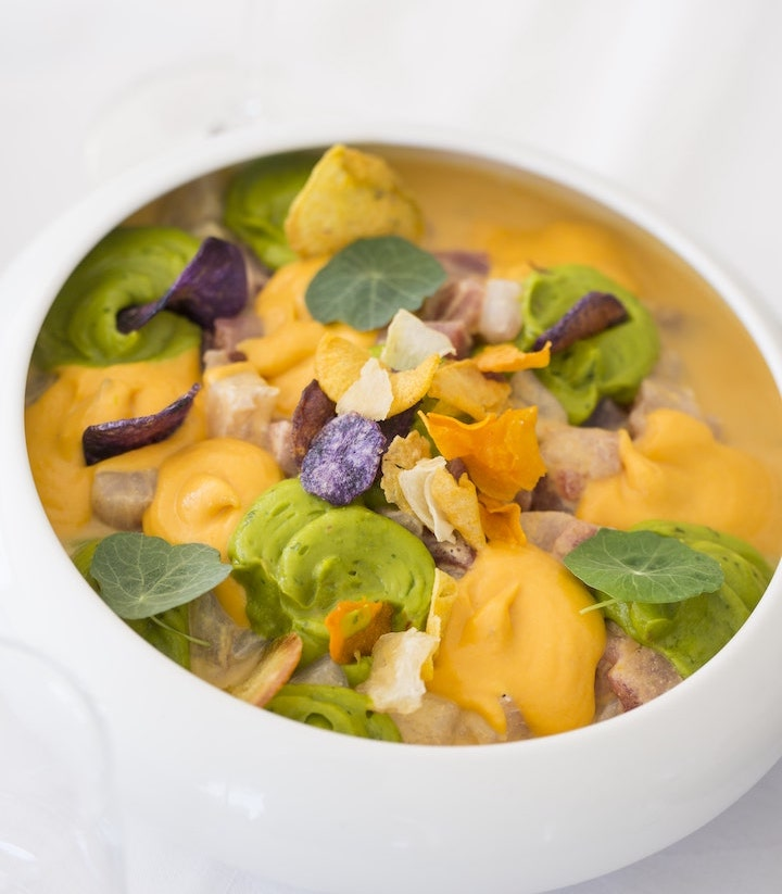 Tropical Ceviche with Guacamole and Sweet Potato Puree