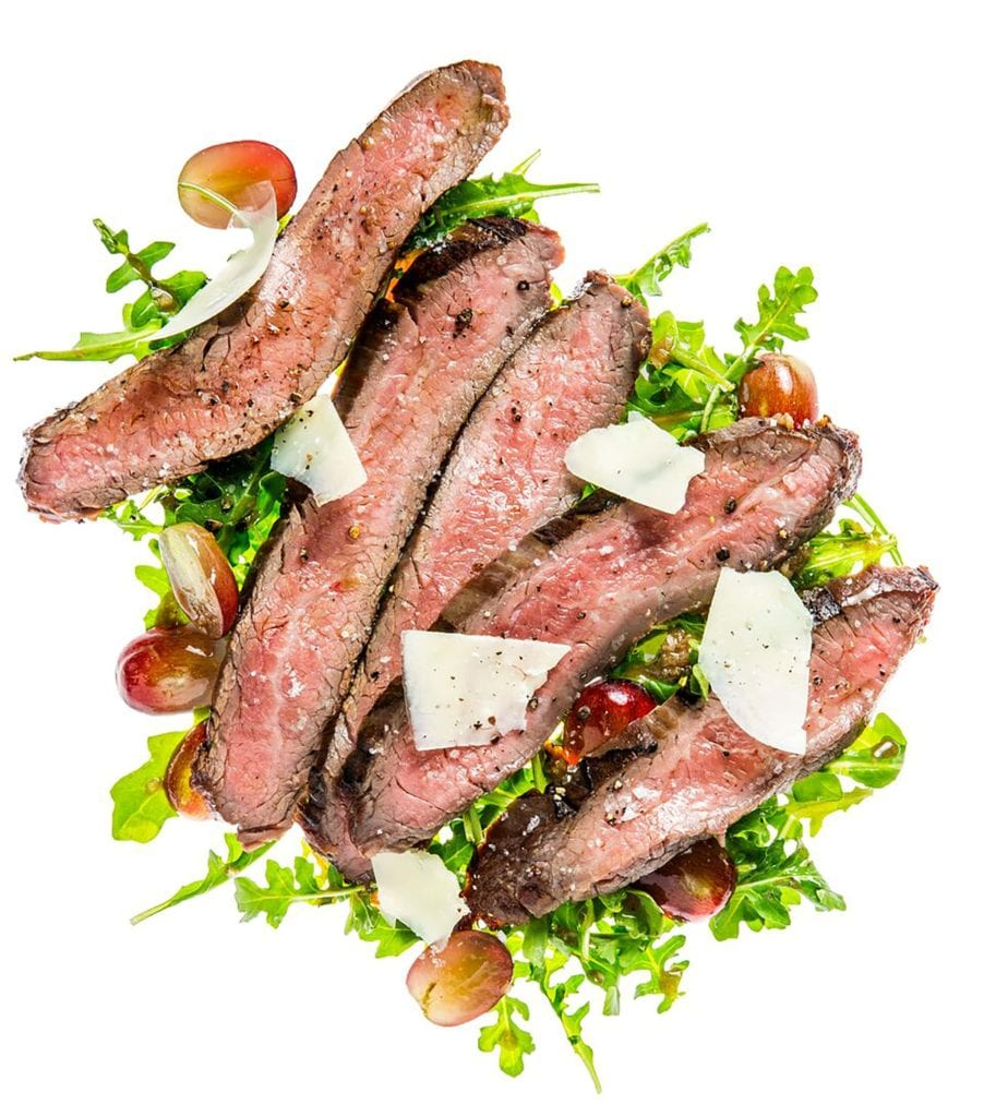Grilled Flank Steak with Arugula Grapes and Parmesan Cheese