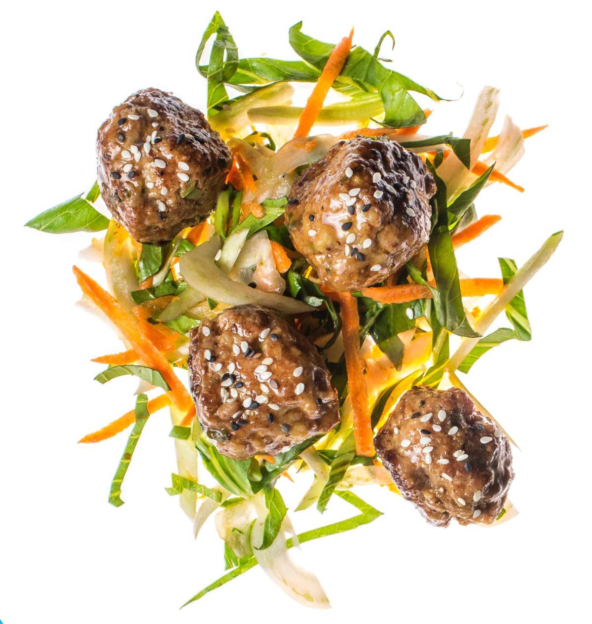 Hoisin Pork Meatballs With Bok Choy Slaw