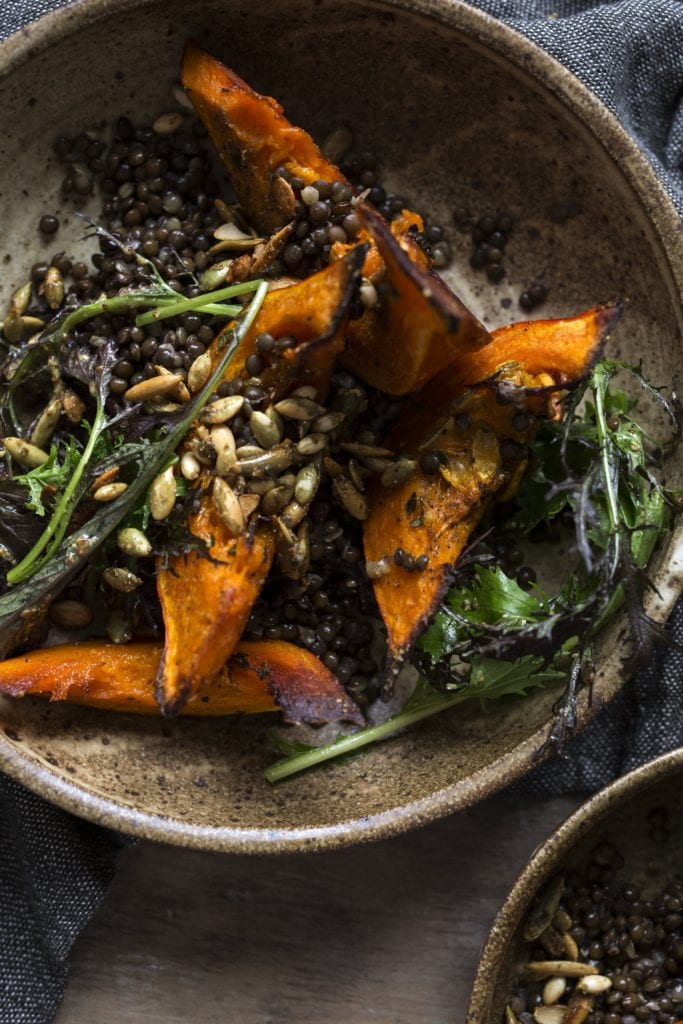 Lentil and Roasted Squash Salad with Bitter Greens and Spiced Pumpkin Seeds Gluten-Free Recipe