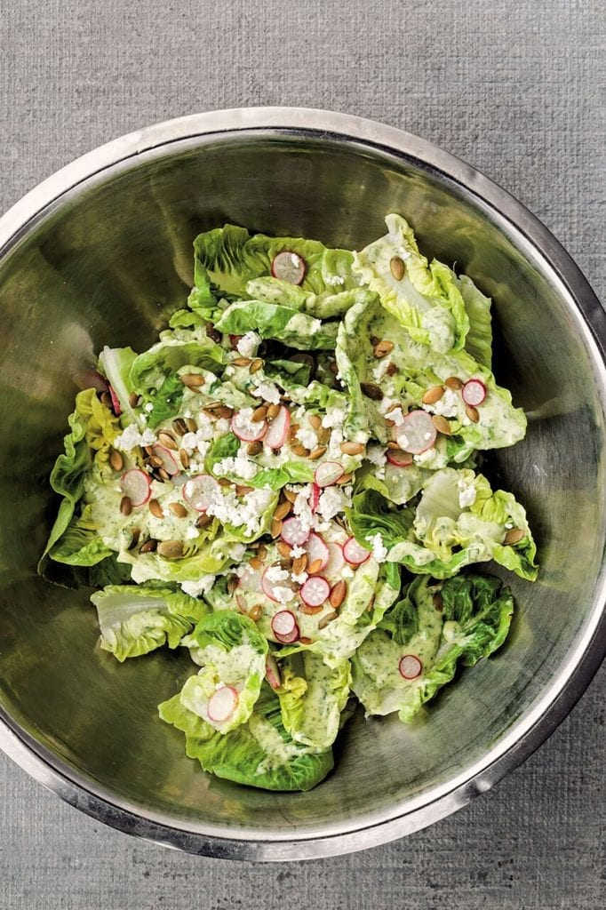 Little Gem Salad with Radishes, Pepitas, and Green Goddess Dressing Gluten-Free Recipe