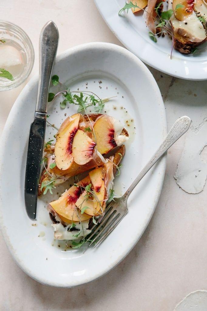 Peach, Serrano Ham, and Taleggio Tartines Gluten-Free Recipe
