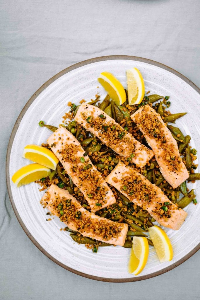 Pan-Roasted Salmon with Gluten-Free Breadcrumbs and Snap Peas