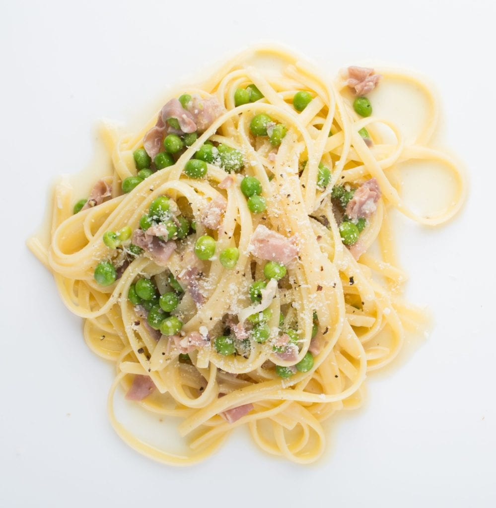Gluten Free Pasta Dish with Prosciutto Cream and Peas