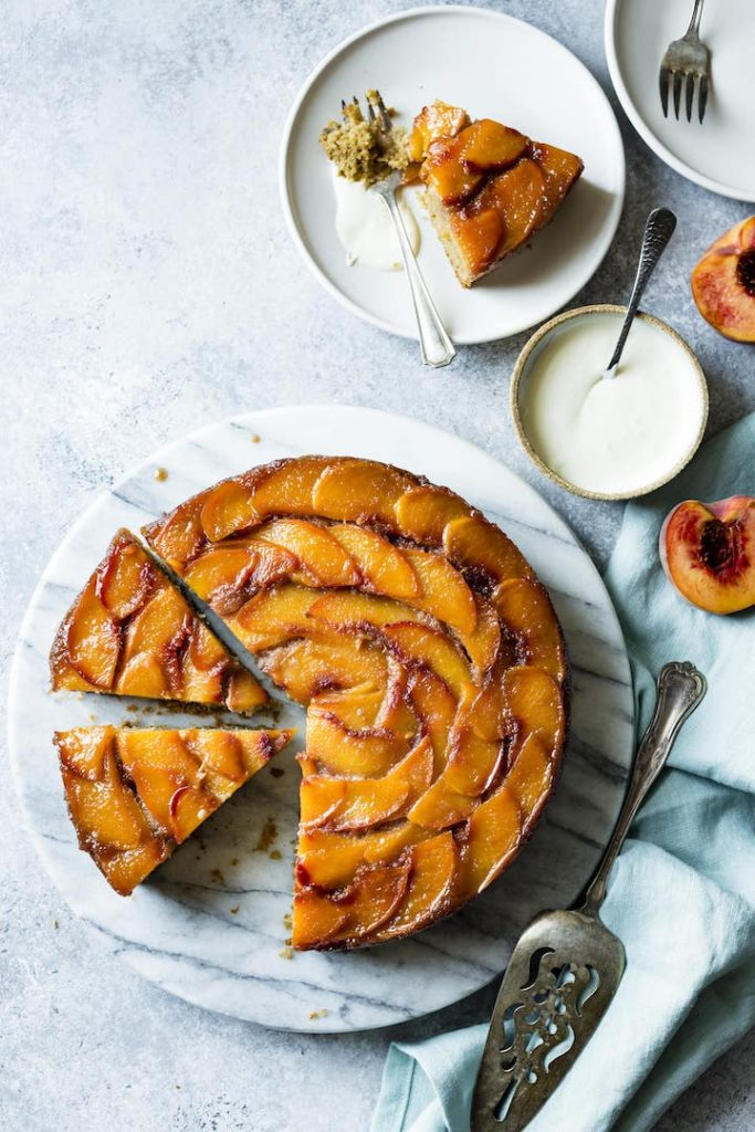 Gluten Free Brown Sugar Peach Upside Down Cake