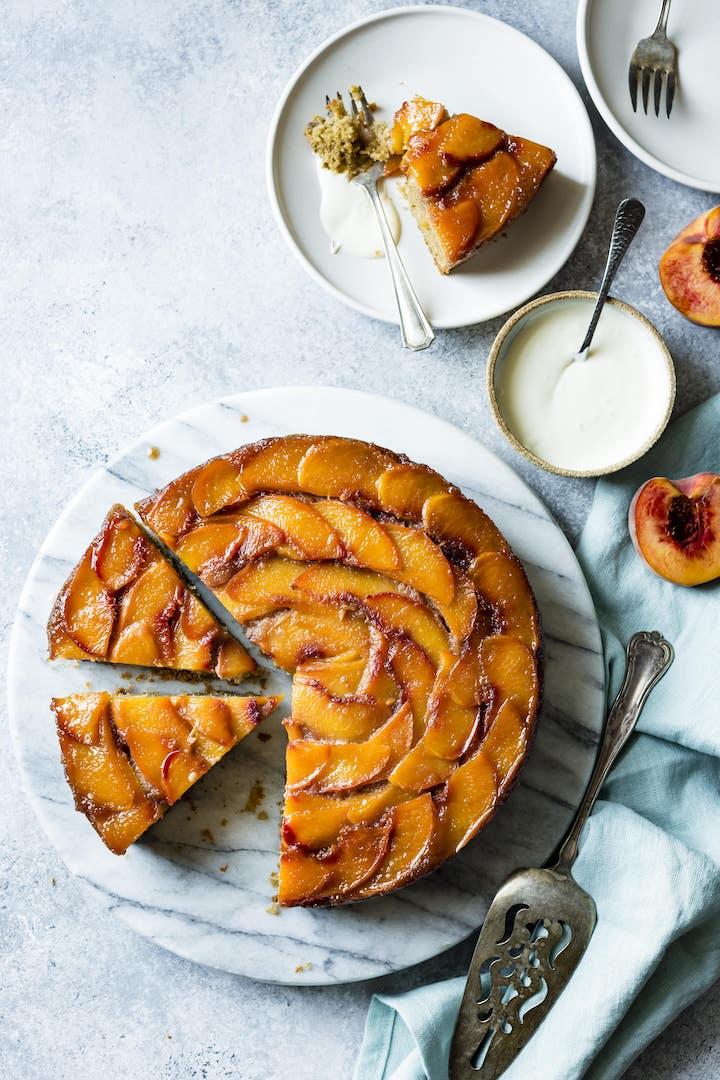 Gluten Free Brown Sugar Peach Upside Down Cake