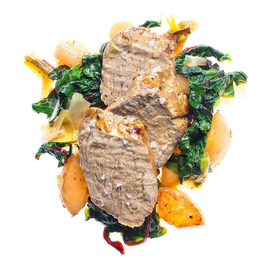 Roasted Pork Medallions with Swiss Chard, Pears, and Leeks Gluten-Free Recipe