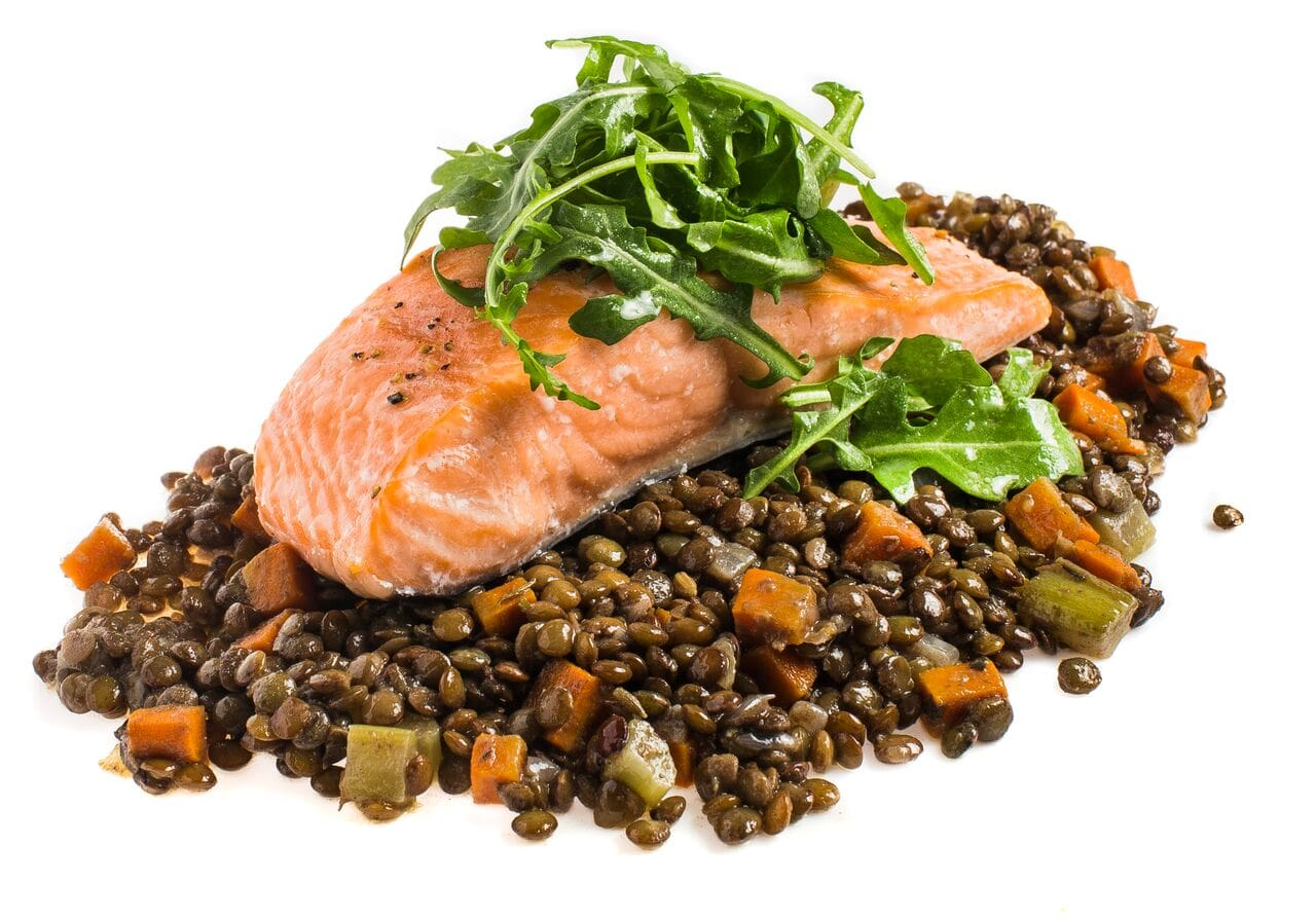 Roasted Salmon with French Lentils and Arugula