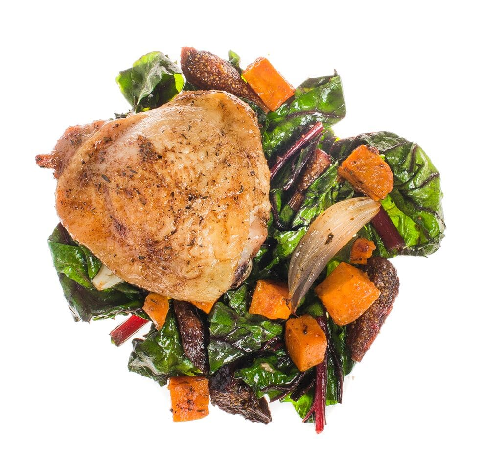 Roasted Winter Spiced Chicken Sweet Potatoes Chard and Figs