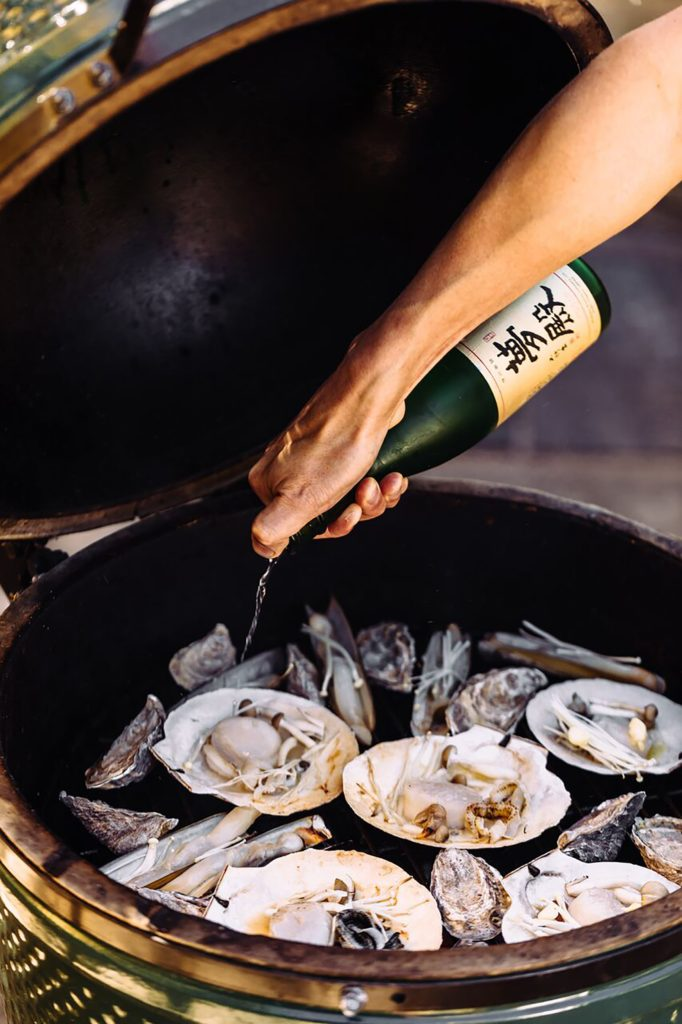 Sake-Braised Oysters, Scallops, and Razor Clams