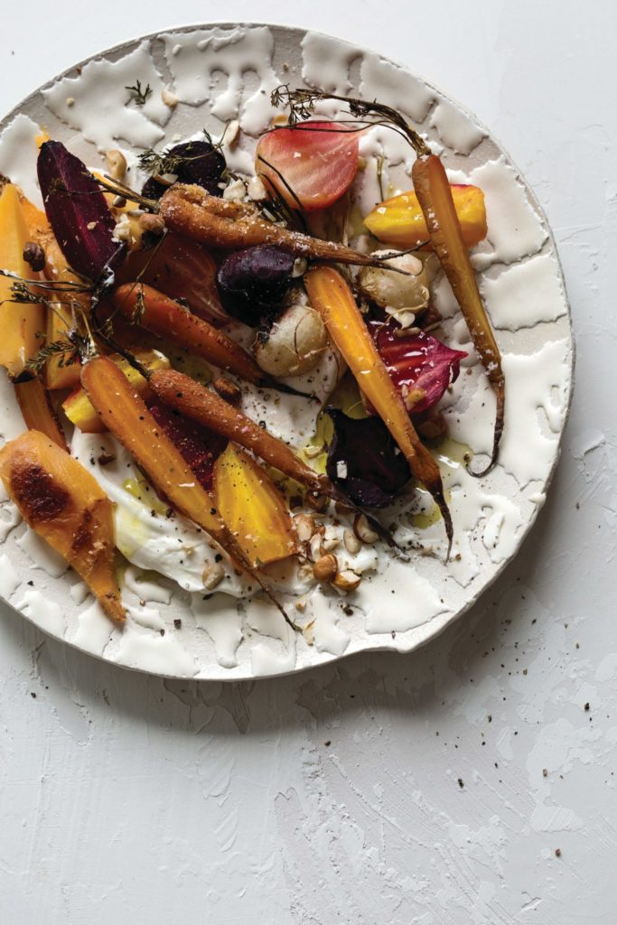 Salt-Roasted Root Vegetable Salad with Yogurt and Hazelnuts