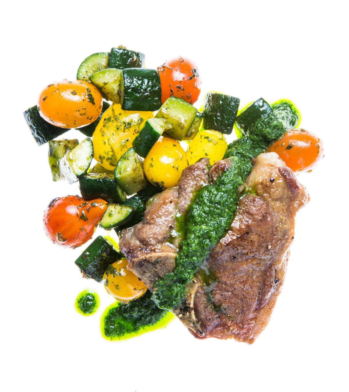 Gluten Free Lamb Chops with Sauteed Zucchini and Cherry Tomatoes