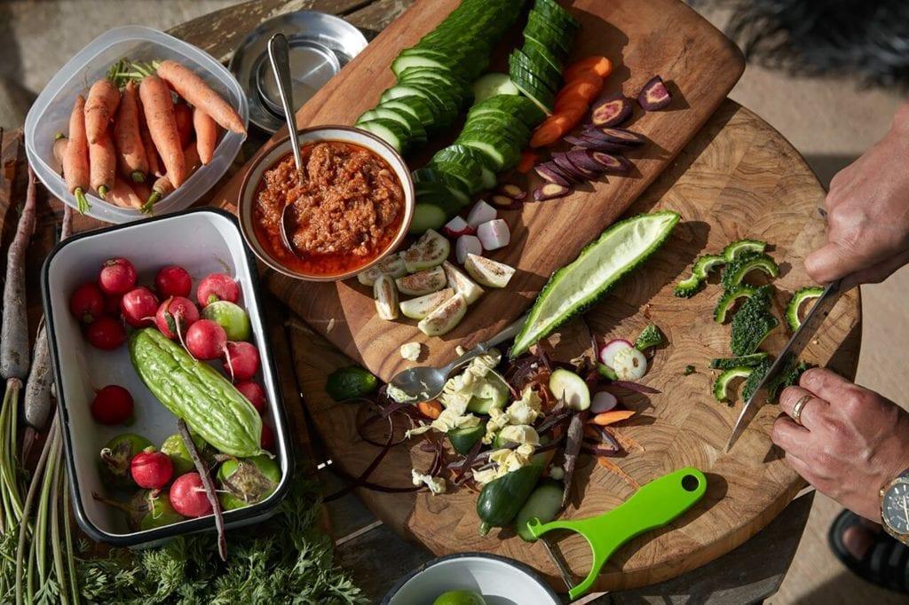Tomato-Shrimp Relish with Raw Vegetables Gluten-Free Recipe
