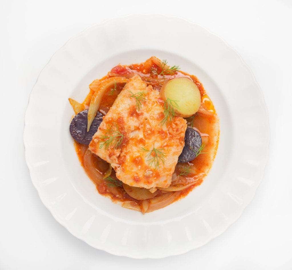 White Fish Braised with Tomato, Fennel, and Potatoes