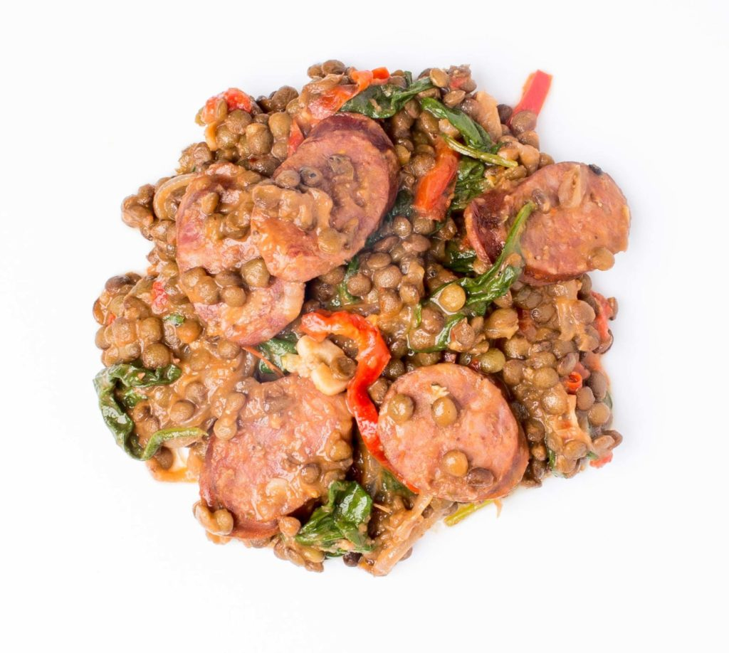 Wine-Braised Lentils with Smoked Sausage and Spinach Gluten-Free Recipe