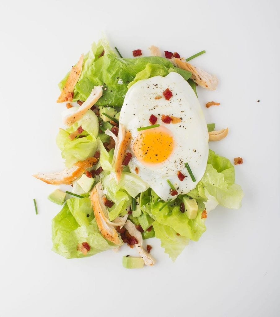 Chicken, Avocado, and Bacon Salad with Fried Egg and Bacon Dressing Gluten-Free Recipe