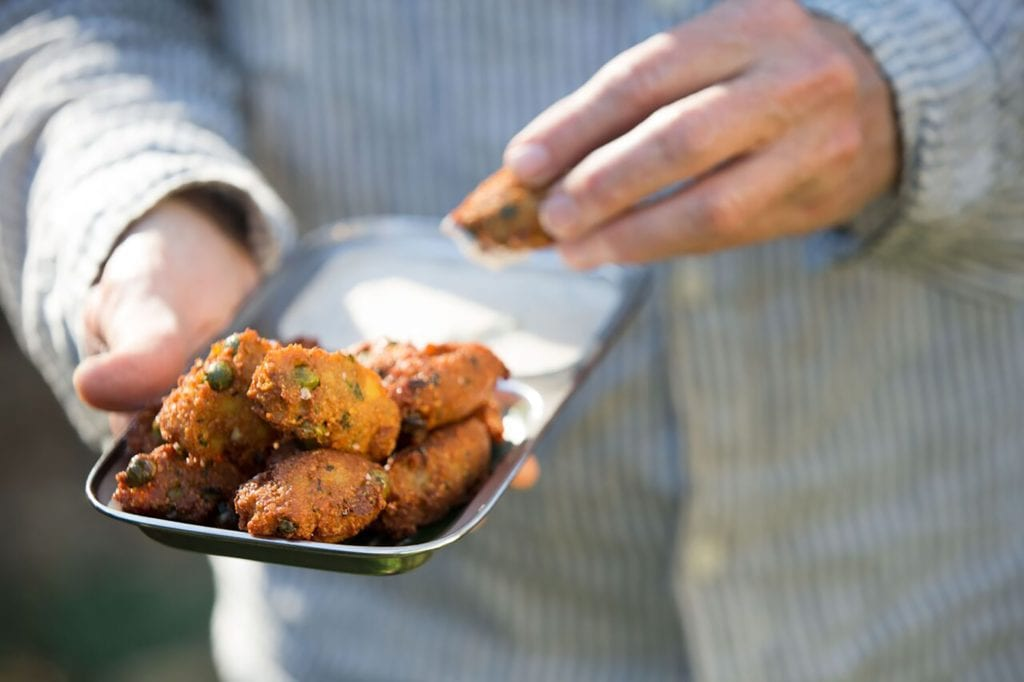 Gluten-Free Indian Fritters with Tamarind Raita