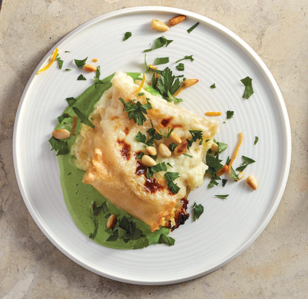 Gluten-Free Butternut Squash Lasagna Rolls with Green Béchamel Sauce Recipe
