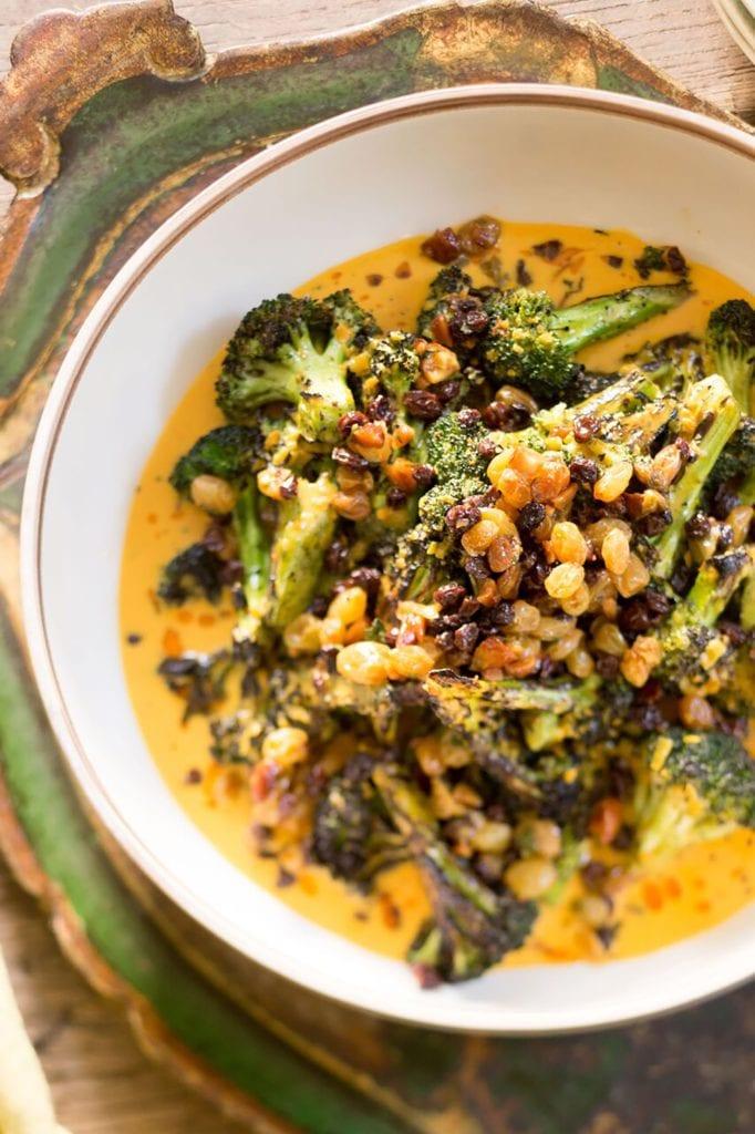 Grilled Broccoli with Fresh Turmeric Curry and Raisin Chutney