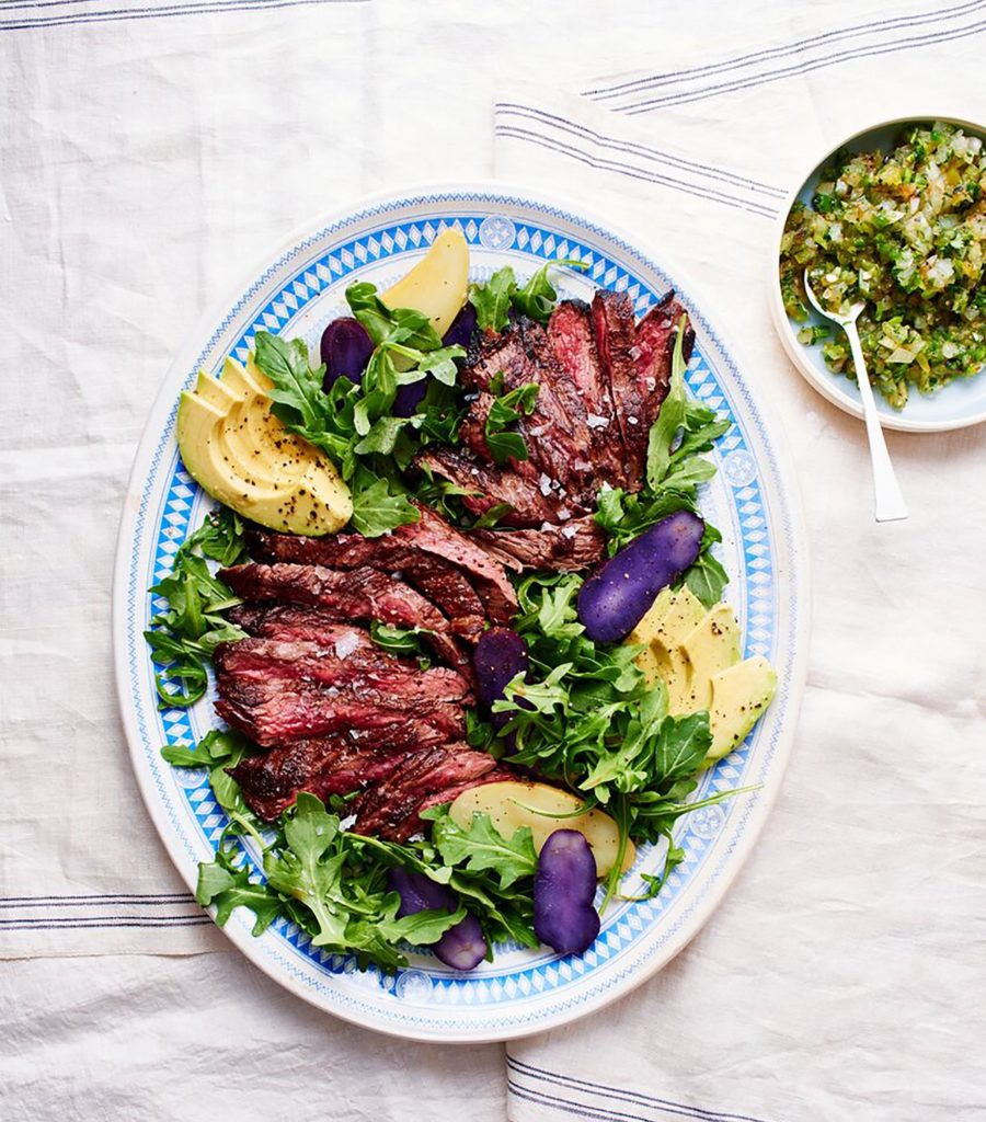 Grilled Skirt Steak Salad with Charred Tomatillo Salsa