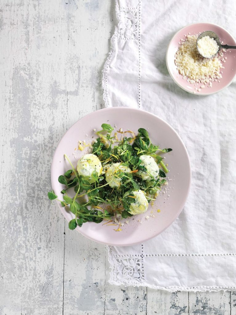 Gluten-Free Pea Shoot and Ricotta Malfatti