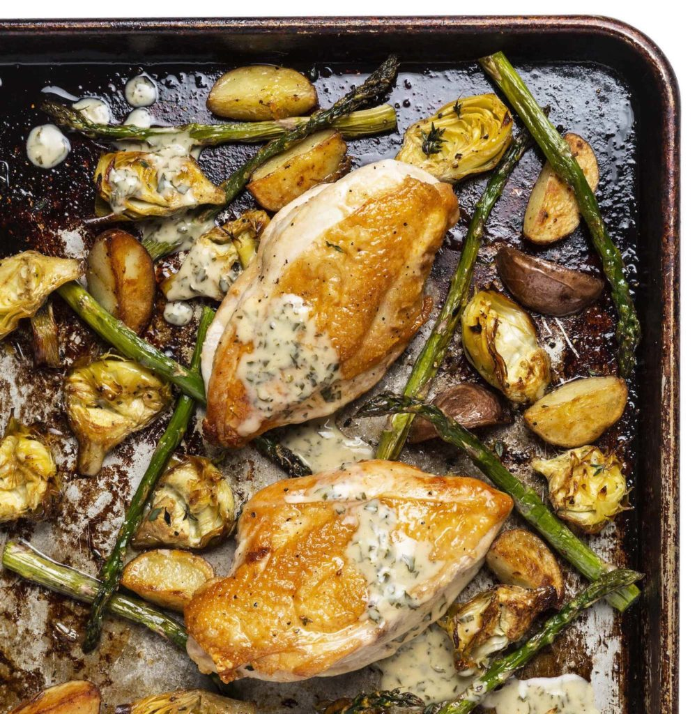 Sheet-Pan Chicken with Artichoke Hearts, Asparagus, and Lemon-Cream Sauce