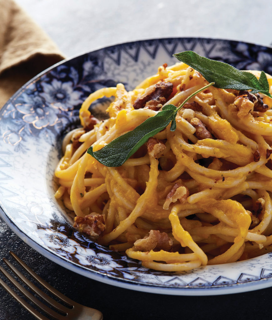 Creamy Butternut Squash Spaghetti with Fried Sage and Walnuts