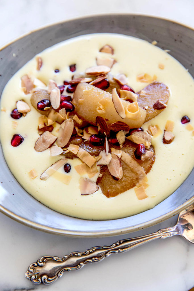 Caramelized Pears with Pomegranate, Almonds, and Champagne Sabayon Gluten-Free Recipe