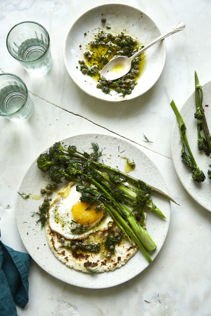 Broccolini and Fried Egg Tostadas with Caper Vinaigrette