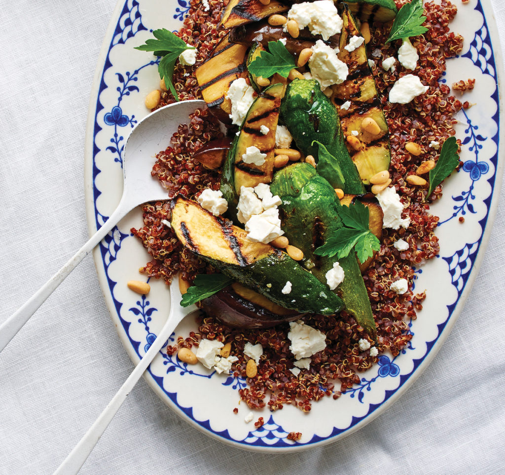 Gluten-Free Grilled Eggplant and Zucchini with Quinoa and Feta